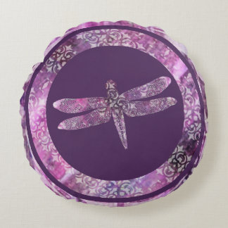 Purple Patina: Dragonfly Round Pillow