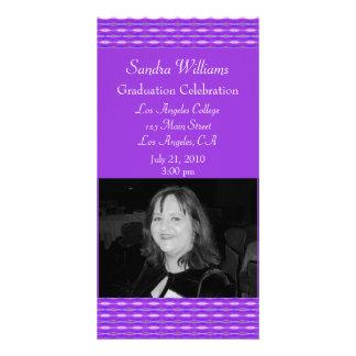 Purple pattern graduation photo greeting card