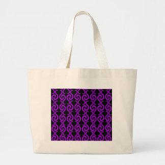 Purple pattern large tote bag