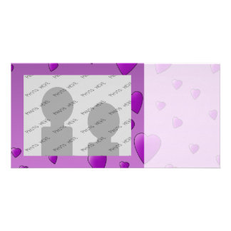 Purple Pattern of Love Hearts Photo Cards