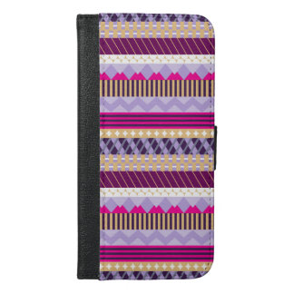 Purple Patterned iPhone 6/6s Wallet Phone Case