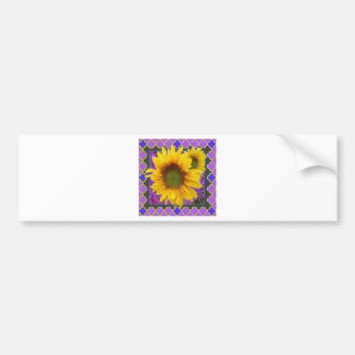 Purple Patterned Yellow Sunflower Gifts Bumper Sticker