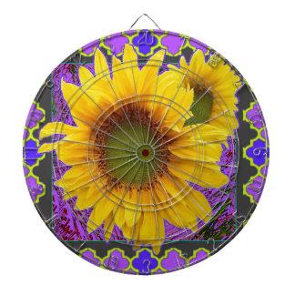 Purple Patterned Yellow Sunflower Gifts Dart Board