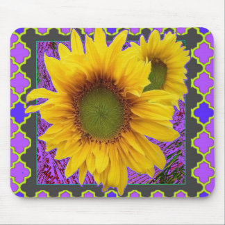 Purple Patterned Yellow Sunflower Gifts Mouse Pad