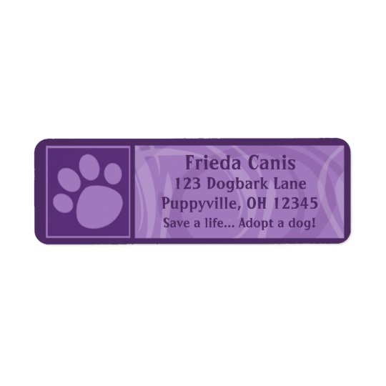 Purple Paw Print Address Labels