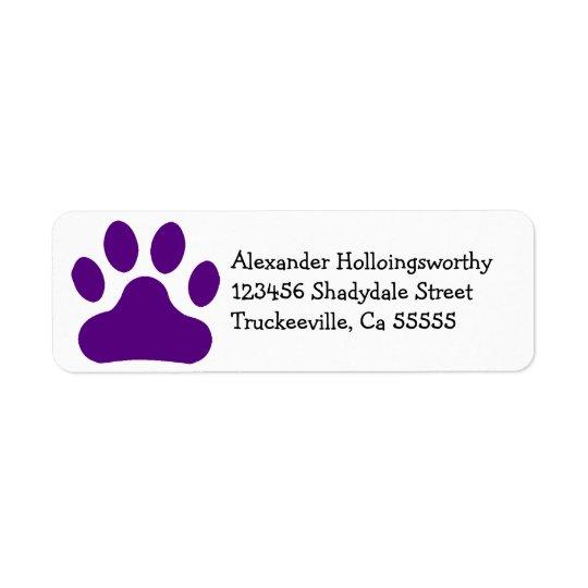 Purple Paw Print Return Address Label