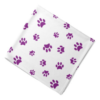 Purple Paw Prints Pattern Bandana