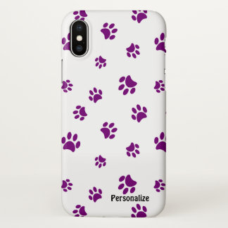 Purple Paw Prints Pattern iPhone X Case