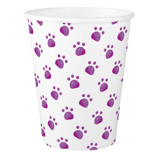 Purple Paw Prints Pattern Paper Cup