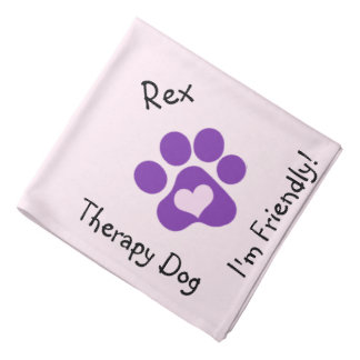 Purple Paw Therapy Dog Neckerchief Bandana