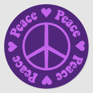 Purple Peace & Love Sticker