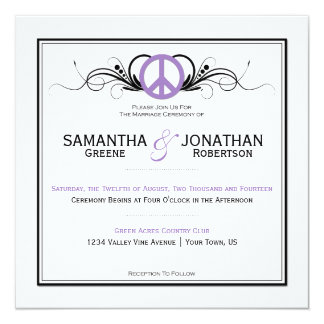 Purple Peace Sign Black Swirls White Wedding Card