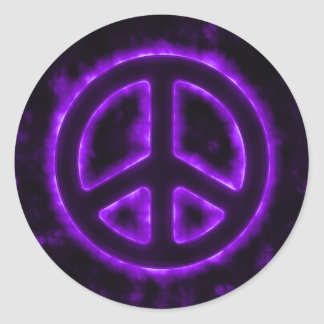 Purple Peace Sign Round Sticker