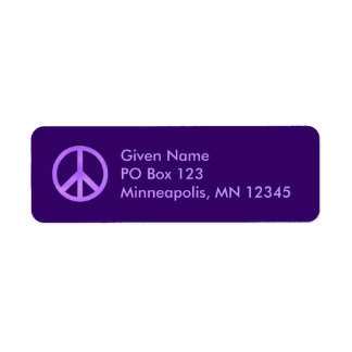 Purple Peace Symbol Avery Label