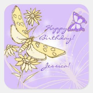 Purple Peach Butterfly Sticker