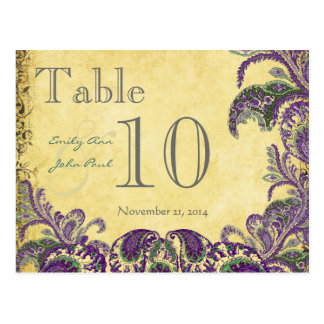 Purple Peacock Colors Paisley Wedding Table Number Postcard