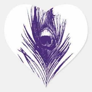 Purple Peacock Feather in Heart Sticker