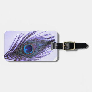 Purple Peacock Feather Luggage Tag