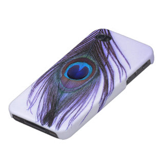Purple Peacock Feather on Purple Covers For iPhone 4