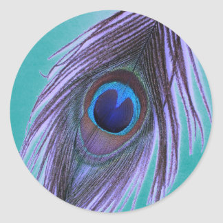 Purple Peacock Feather on Teal Round Stickers