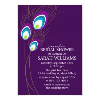 "Purple Peacock Feathers Bridal Shower 5"" X 7"" Invitation Card"