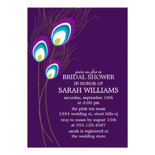 Purple Peacock Feathers Bridal Shower Custom Invitation