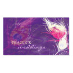 Purple Peacock Feathers Chic Wedding Business Card