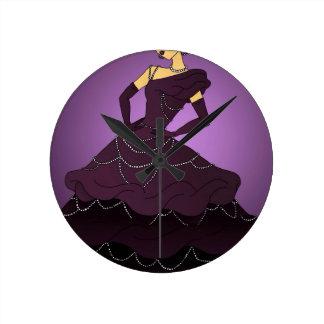 Purple Pearl Dress Round Clock