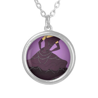 Purple Pearl Dress Silver Plated Necklace