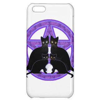 purple pentagram black cat wicca iphone case cover case for iPhone 5C