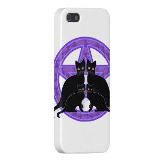 purple pentagram black cat wicca iphone case cover iPhone 5 covers