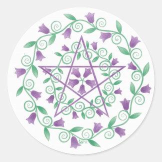 Purple Pentagram Floral Wreath Round Sticker