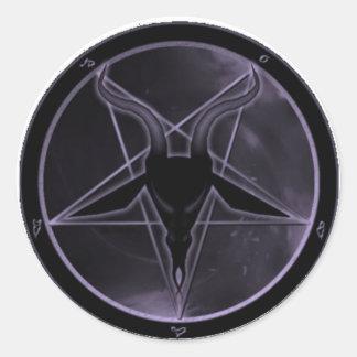 Purple Pentagram Round Sticker