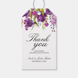 Purple Peonies Thank You Favor Tag