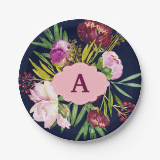 Purple Peonies Watercolor Flowers Monogram Paper Plate