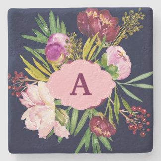Purple Peonies Watercolor Flowers Monogram Stone Coaster