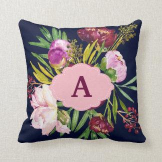 Purple Peonies Watercolor Flowers Monogram Throw Pillow