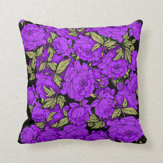 Purple Peonies with Gold Leaves Throw Pillow