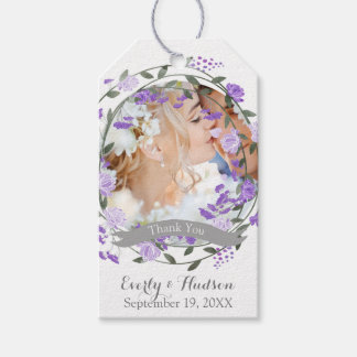 Purple Peony Floral Wreath Wedding Gift Tags