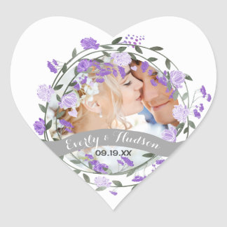 Purple Peony Floral Wreath Wedding Heart Sticker