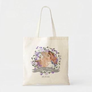 Purple Peony Floral Wreath Wedding Tote Bag