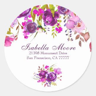 Purple Peony Return Address Envelope Seal