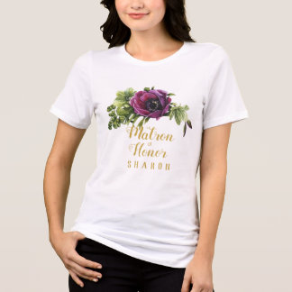 Purple Peony Swag Matron of Honour Name ID456 T-Shirt