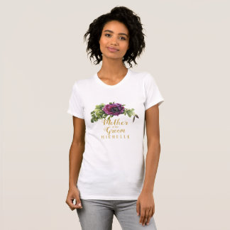 Purple Peony Swag Mother of the Groom Name ID456 T-Shirt
