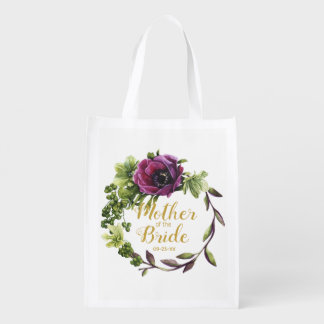 Purple Peony Wreath Mother of the Bride ID456 Reusable Grocery Bag