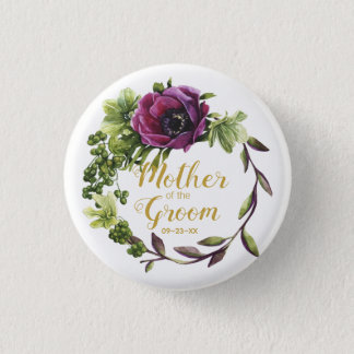 Purple Peony Wreath Mother of the Groom ID456 1 Inch Round Button
