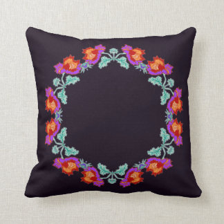 Purple Peony Wreath Pillow