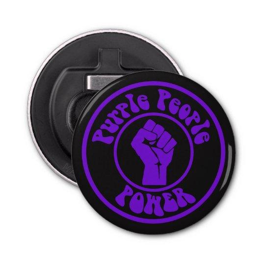 Purple People Power Button Bottle Opener