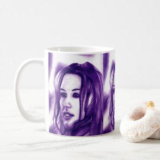 Purple People Woman Portrait Monochrome Art Coffee Mug