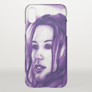 Purple People Woman Portrait Original Art iPhone X Case